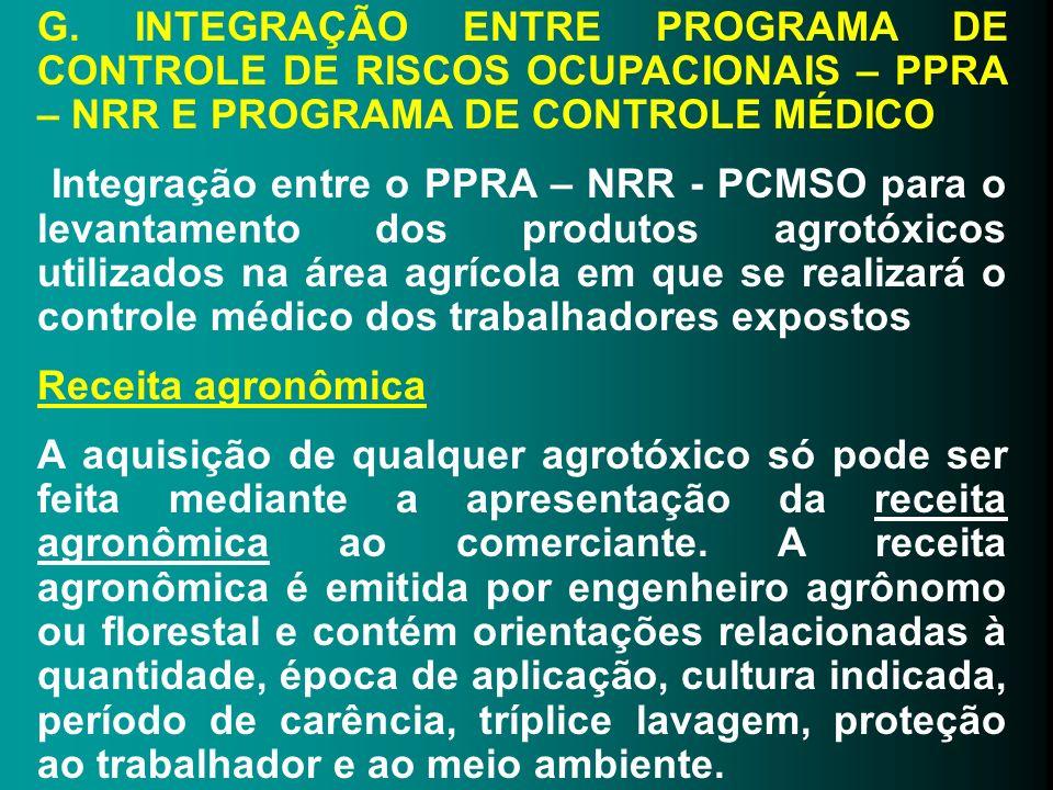 G. INTEGRAÇÃO ENTRE PROGRAMA DE CONTROLE DE RISCOS OCUPACIONAIS – PPRA – NRR E PROGRAMA DE CONTROLE MÉDICO