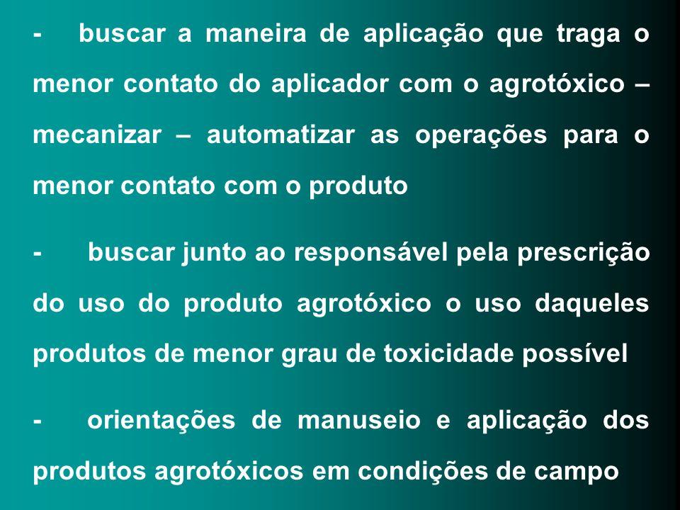 - buscar a maneira de aplicação que traga o menor contato do aplicador com o agrotóxico – mecanizar – automatizar as operações para o menor contato com o produto