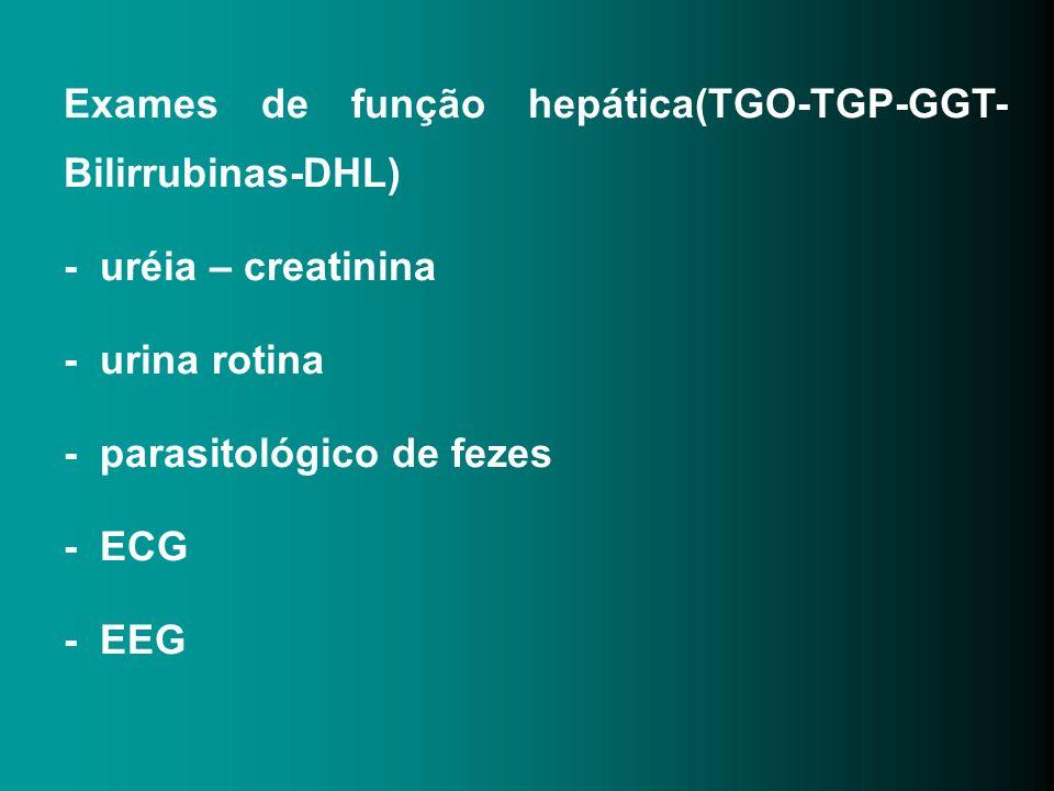 Exames de função hepática(TGO-TGP-GGT-Bilirrubinas-DHL)