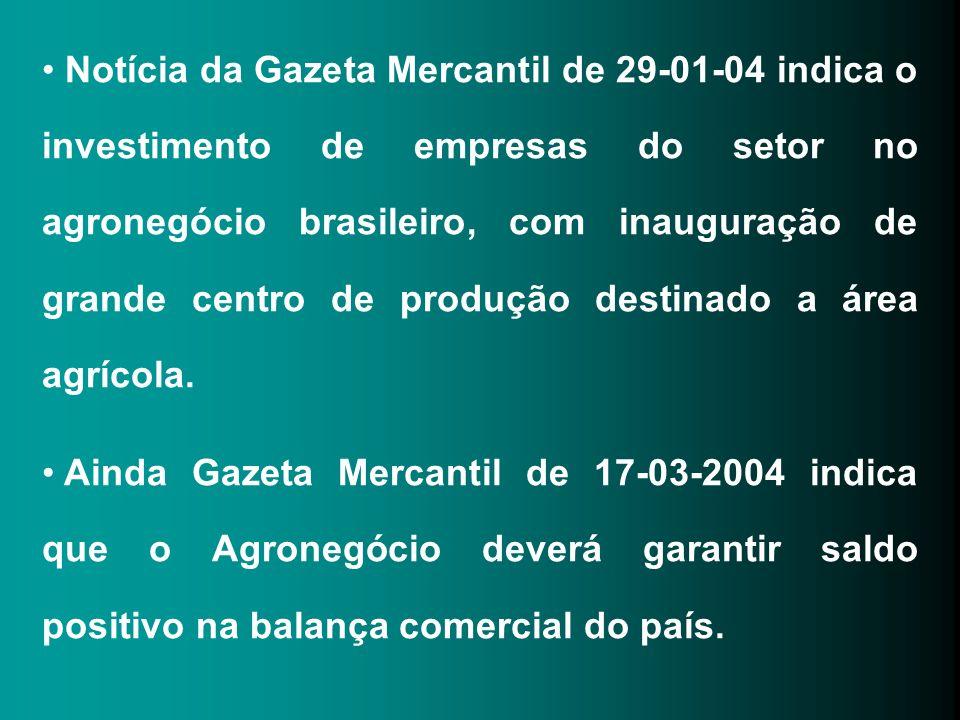 Notícia da Gazeta Mercantil de 29-01-04 indica o investimento de empresas do setor no agronegócio brasileiro, com inauguração de grande centro de produção destinado a área agrícola.