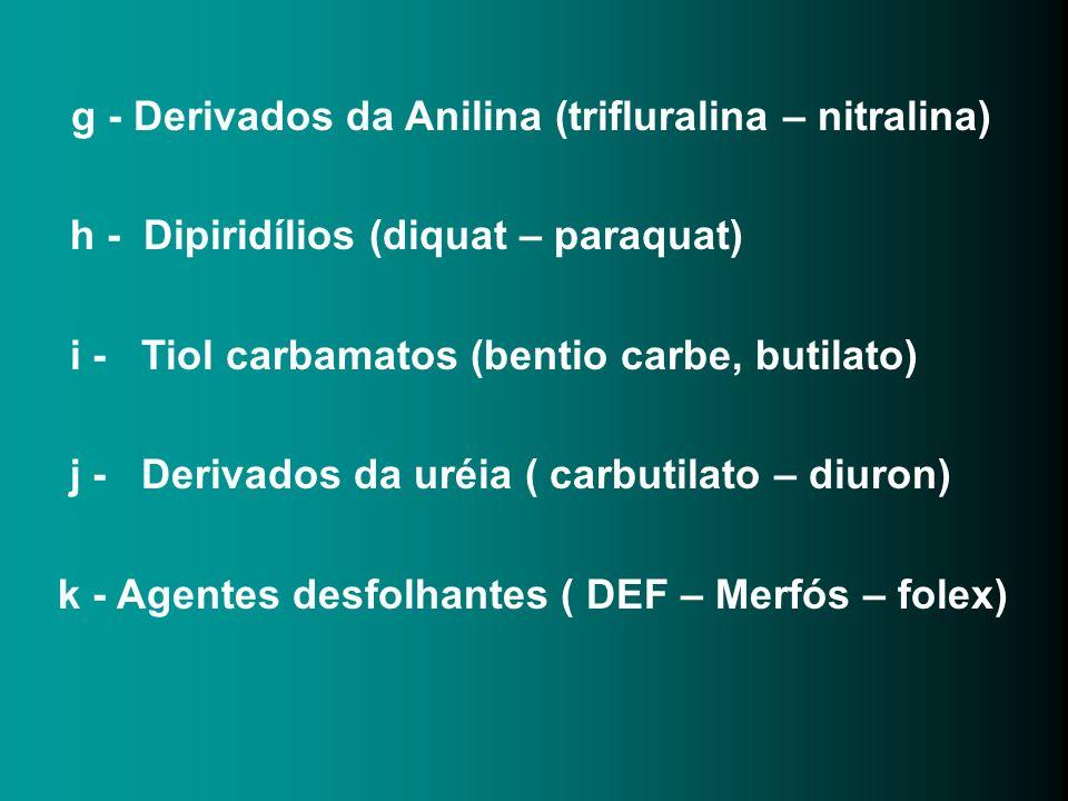 g - Derivados da Anilina (trifluralina – nitralina)