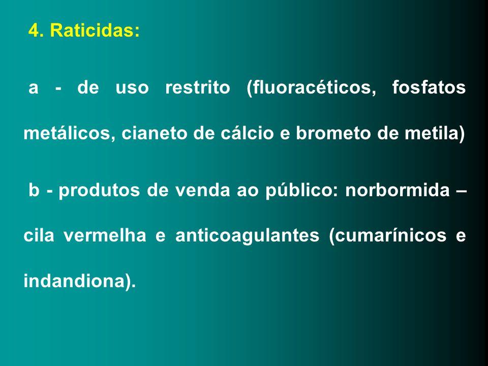 4. Raticidas: a - de uso restrito (fluoracéticos, fosfatos metálicos, cianeto de cálcio e brometo de metila)