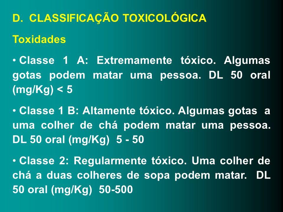 D. CLASSIFICAÇÃO TOXICOLÓGICA