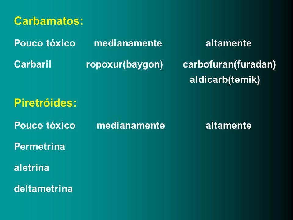 Carbamatos: Piretróides: Pouco tóxico medianamente altamente
