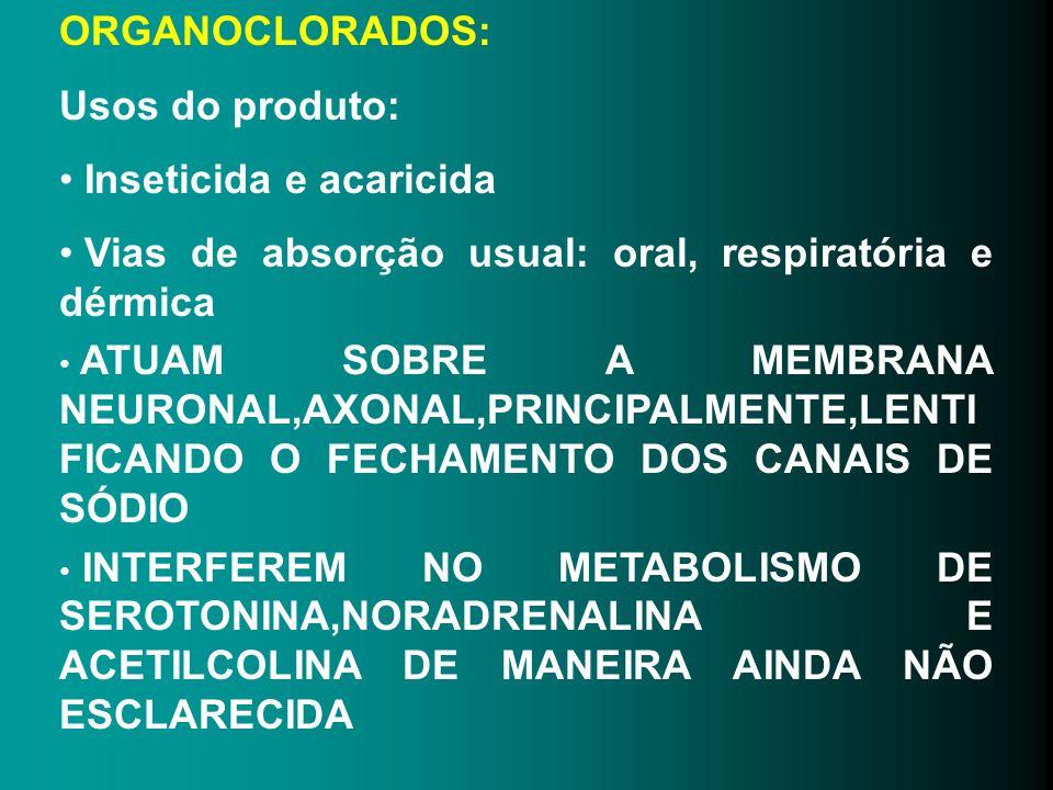 ORGANOCLORADOS: Usos do produto: Inseticida e acaricida. Vias de absorção usual: oral, respiratória e dérmica.