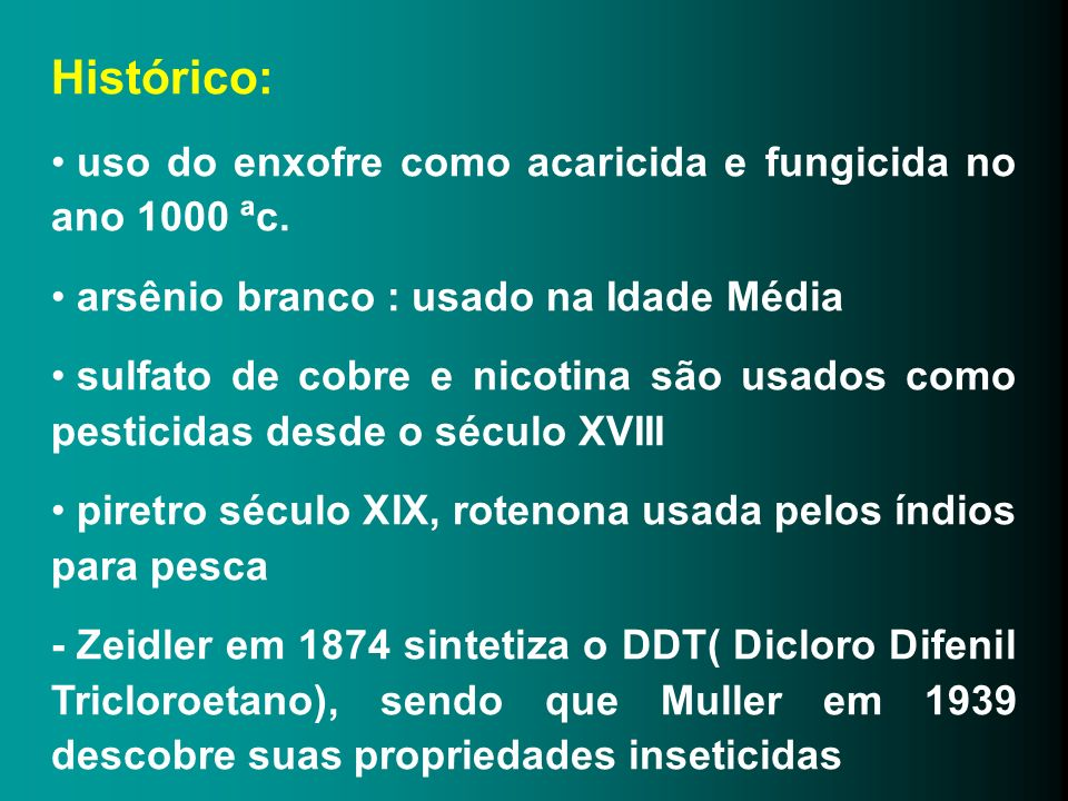 Histórico: uso do enxofre como acaricida e fungicida no ano 1000 ªc.