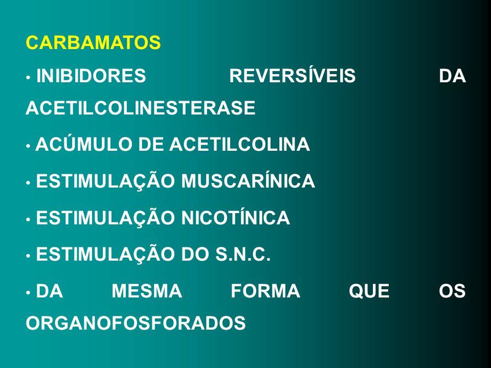 CARBAMATOS INIBIDORES REVERSÍVEIS DA ACETILCOLINESTERASE. ACÚMULO DE ACETILCOLINA. ESTIMULAÇÃO MUSCARÍNICA.