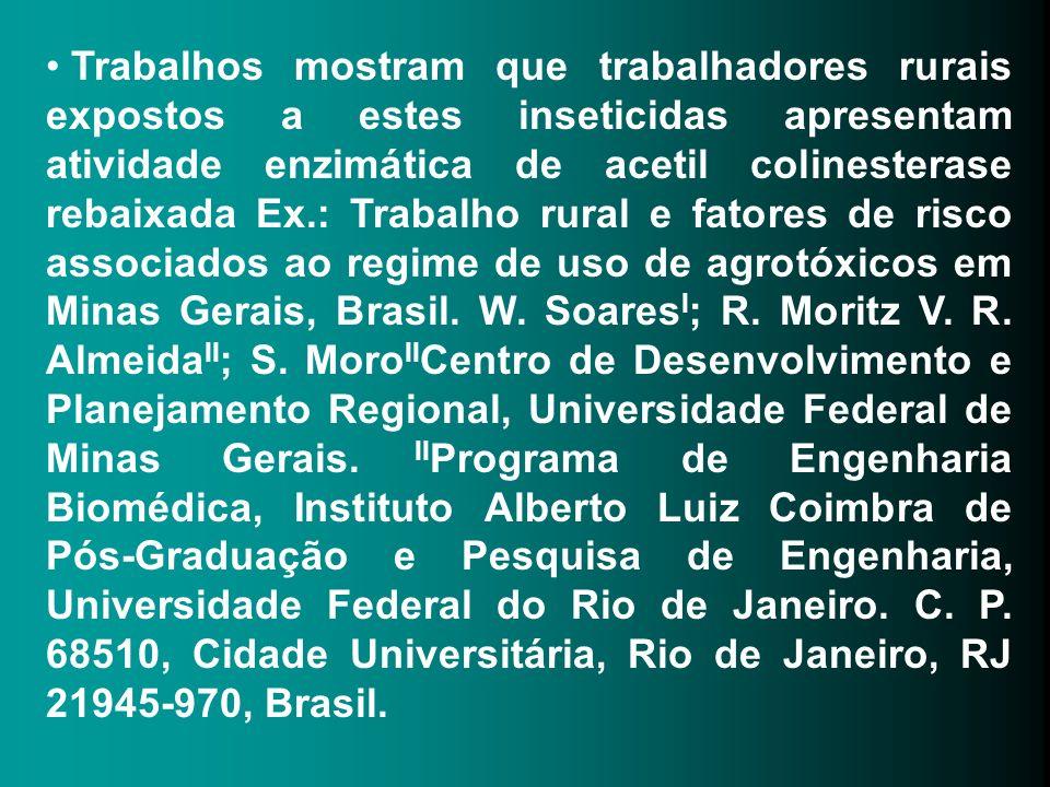 Trabalhos mostram que trabalhadores rurais expostos a estes inseticidas apresentam atividade enzimática de acetil colinesterase rebaixada Ex.: Trabalho rural e fatores de risco associados ao regime de uso de agrotóxicos em Minas Gerais, Brasil. W.