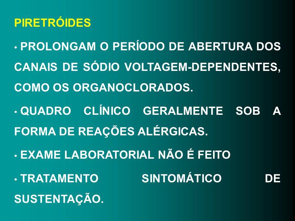 PIRETRÓIDES PROLONGAM O PERÍODO DE ABERTURA DOS CANAIS DE SÓDIO VOLTAGEM-DEPENDENTES, COMO OS ORGANOCLORADOS.