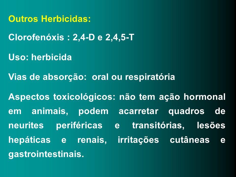 Outros Herbicidas: Clorofenóxis : 2,4-D e 2,4,5-T. Uso: herbicida. Vias de absorção: oral ou respiratória.