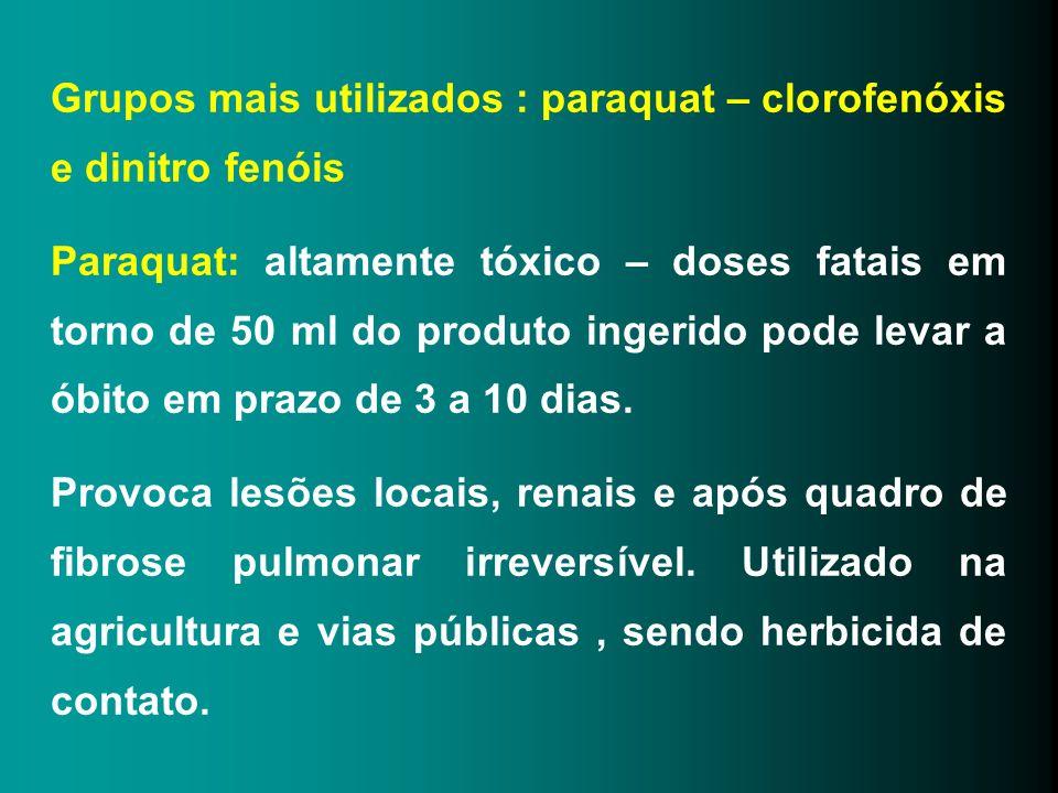 Grupos mais utilizados : paraquat – clorofenóxis e dinitro fenóis