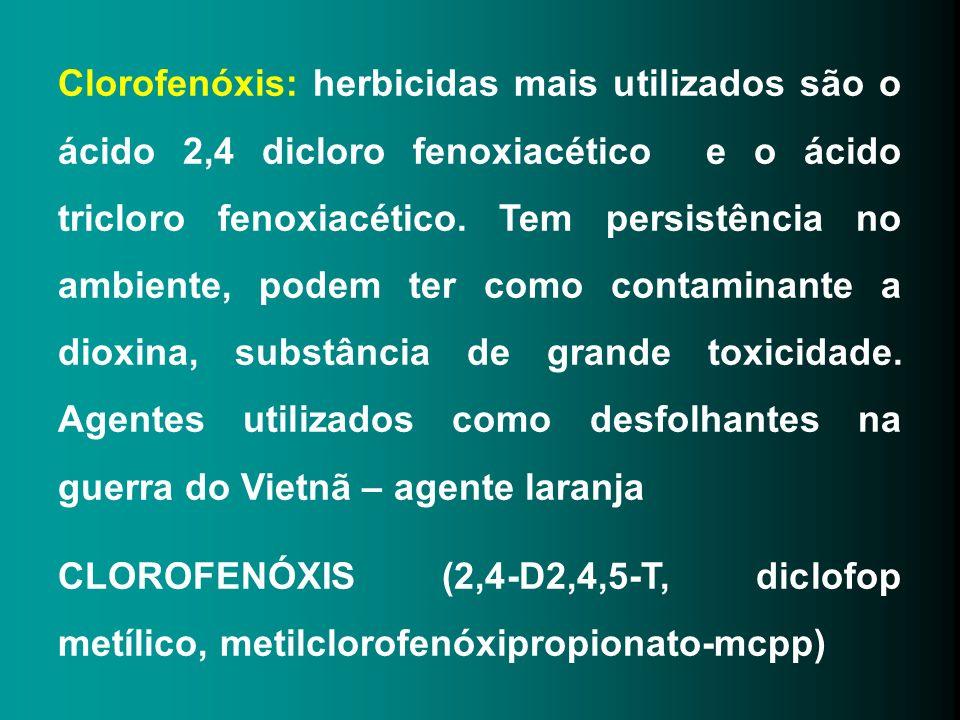 Clorofenóxis: herbicidas mais utilizados são o ácido 2,4 dicloro fenoxiacético e o ácido tricloro fenoxiacético. Tem persistência no ambiente, podem ter como contaminante a dioxina, substância de grande toxicidade. Agentes utilizados como desfolhantes na guerra do Vietnã – agente laranja