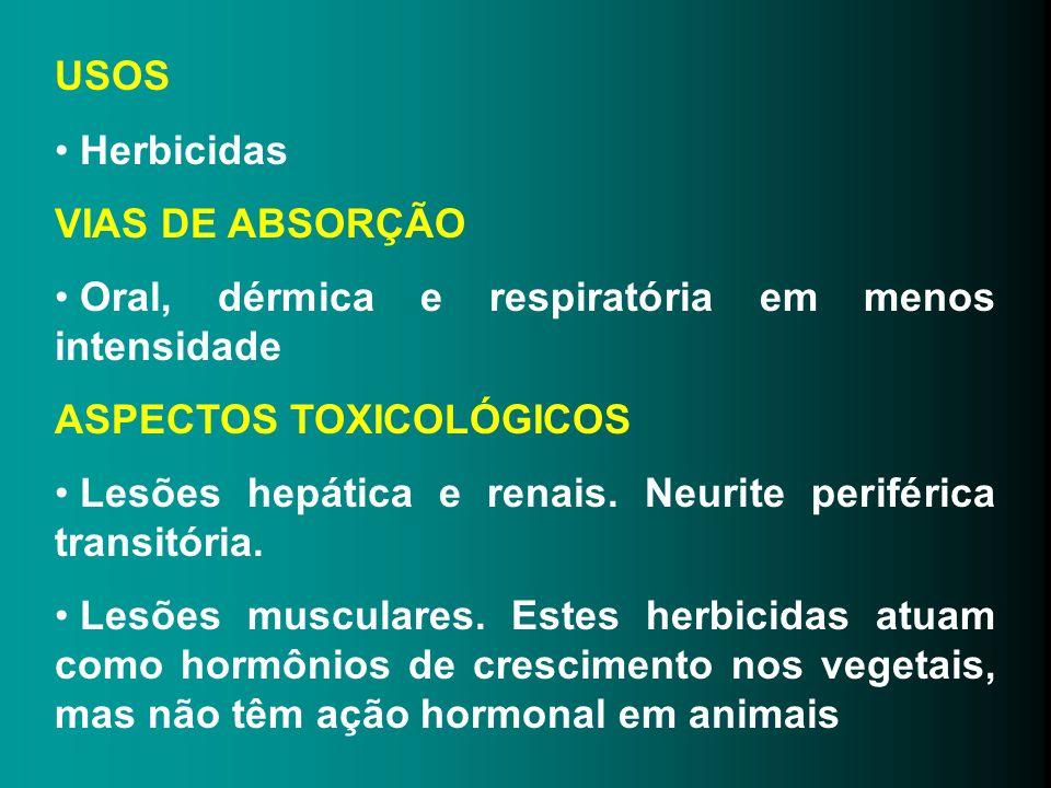 USOS Herbicidas. VIAS DE ABSORÇÃO. Oral, dérmica e respiratória em menos intensidade. ASPECTOS TOXICOLÓGICOS.
