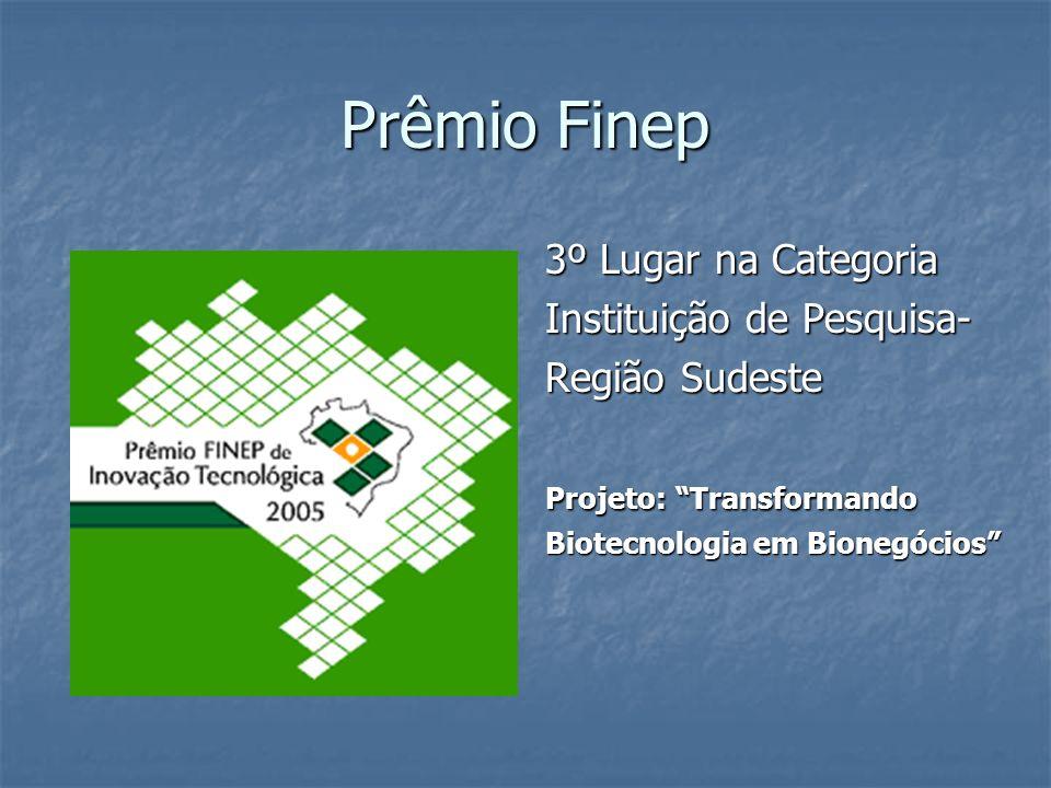 Prêmio Finep 3º Lugar na Categoria Instituição de Pesquisa-