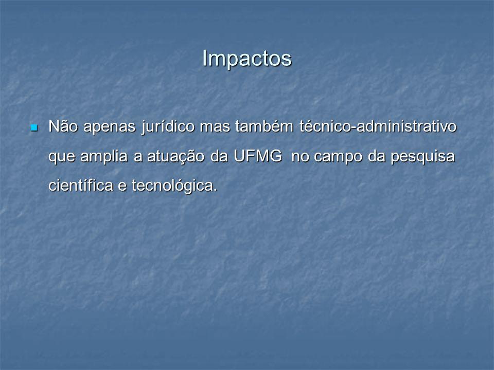 ImpactosNão apenas jurídico mas também técnico-administrativo que amplia a atuação da UFMG no campo da pesquisa científica e tecnológica.