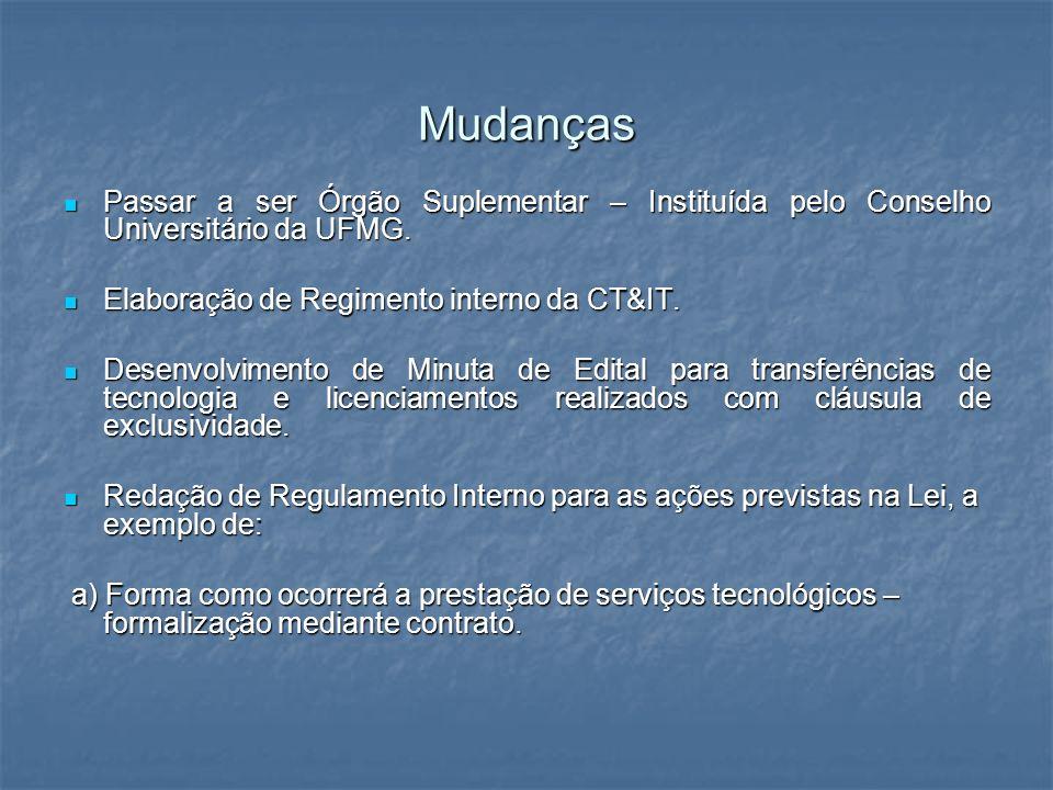 Mudanças Passar a ser Órgão Suplementar – Instituída pelo Conselho Universitário da UFMG. Elaboração de Regimento interno da CT&IT.