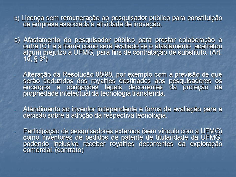 b) Licença sem remuneração ao pesquisador público para constituição de empresa associada a atividade de inovação.