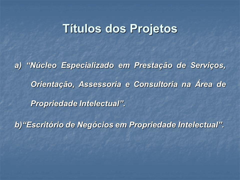 Títulos dos Projetos a) Núcleo Especializado em Prestação de Serviços, Orientação, Assessoria e Consultoria na Área de Propriedade Intelectual .