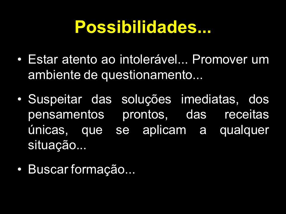 Possibilidades... Estar atento ao intolerável... Promover um ambiente de questionamento...