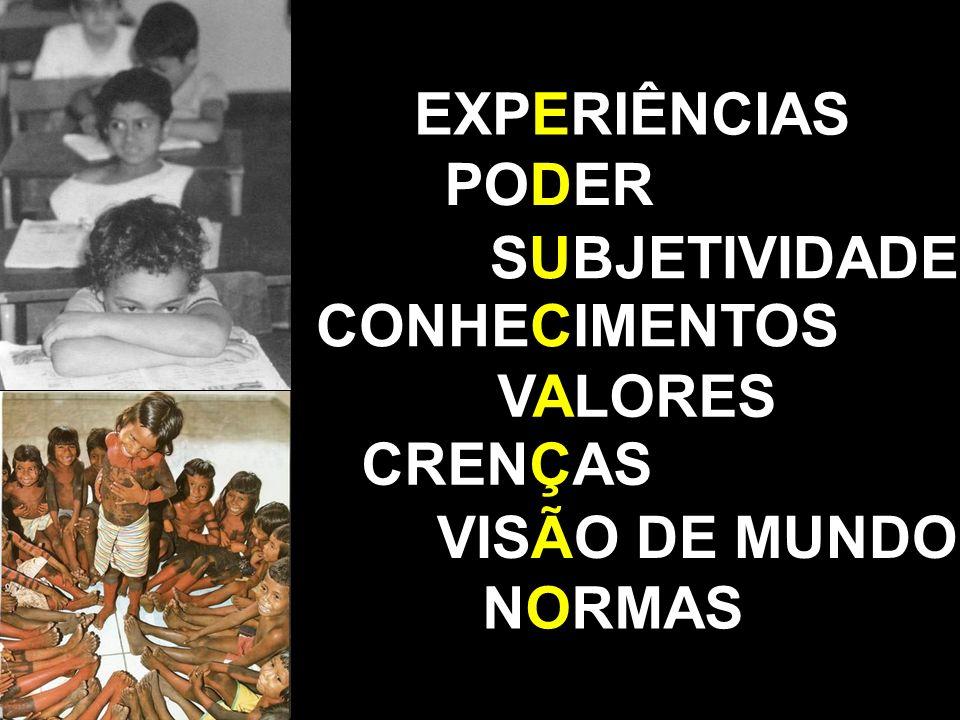 EXPERIÊNCIAS PODER SUBJETIVIDADE CONHECIMENTOS VALORES CRENÇAS VISÃO DE MUNDO NORMAS