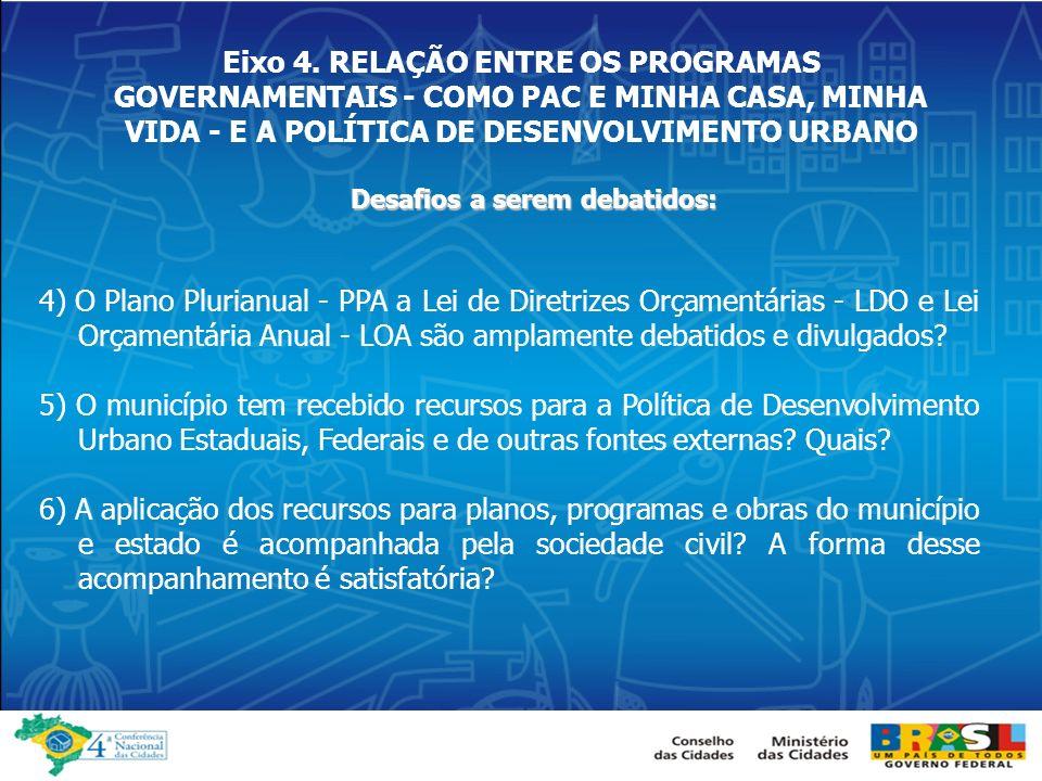 Eixo 4. RELAÇÃO ENTRE OS PROGRAMAS GOVERNAMENTAIS - COMO PAC E MINHA CASA, MINHA VIDA - E A POLÍTICA DE DESENVOLVIMENTO URBANO