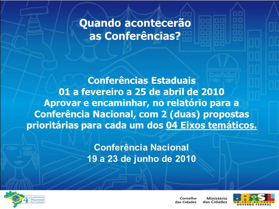 Conferências Estaduais 01 a fevereiro a 25 de abril de 2010