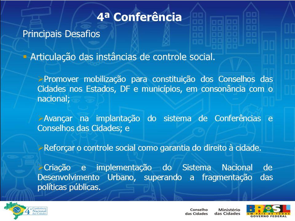 4ª Conferência Articulação das instâncias de controle social.