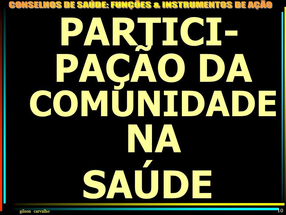 PARTICI-PAÇÃO DA COMUNIDADE NA