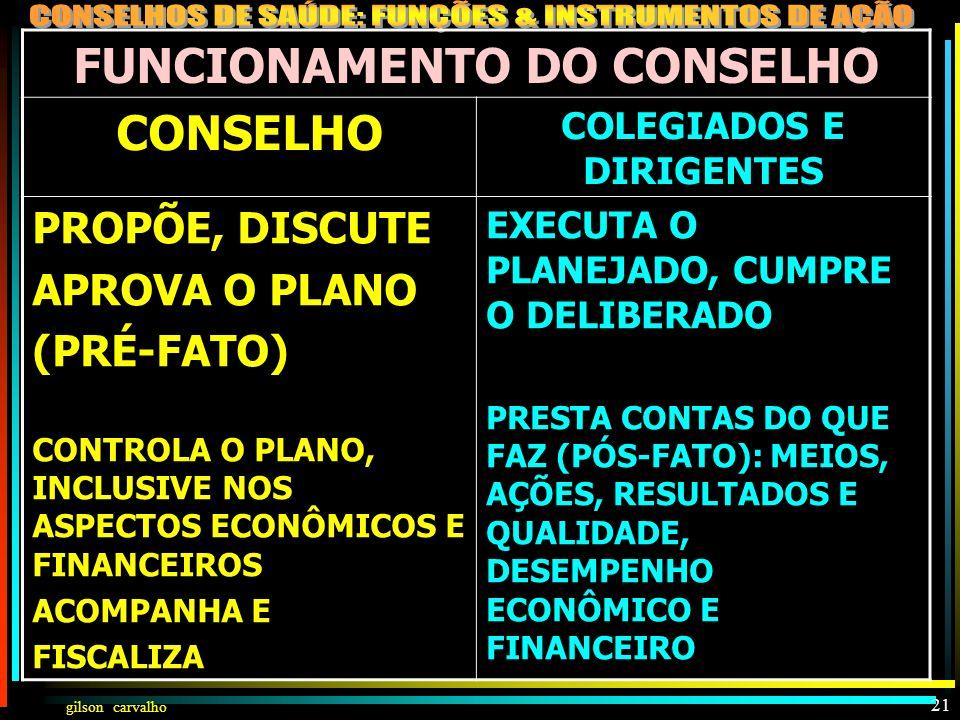 FUNCIONAMENTO DO CONSELHO COLEGIADOS E DIRIGENTES