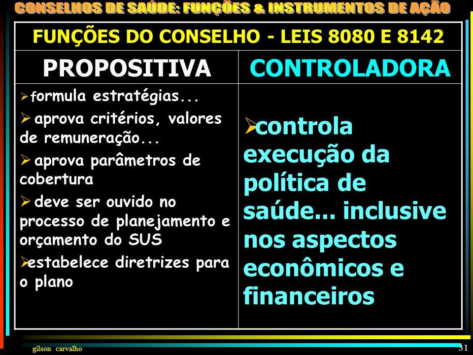 FUNÇÕES DO CONSELHO - LEIS 8080 E 8142
