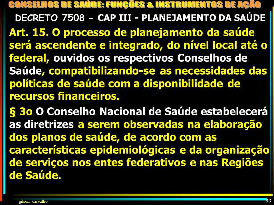 DECRETO 7508 - CAP III - PLANEJAMENTO DA SAÚDE