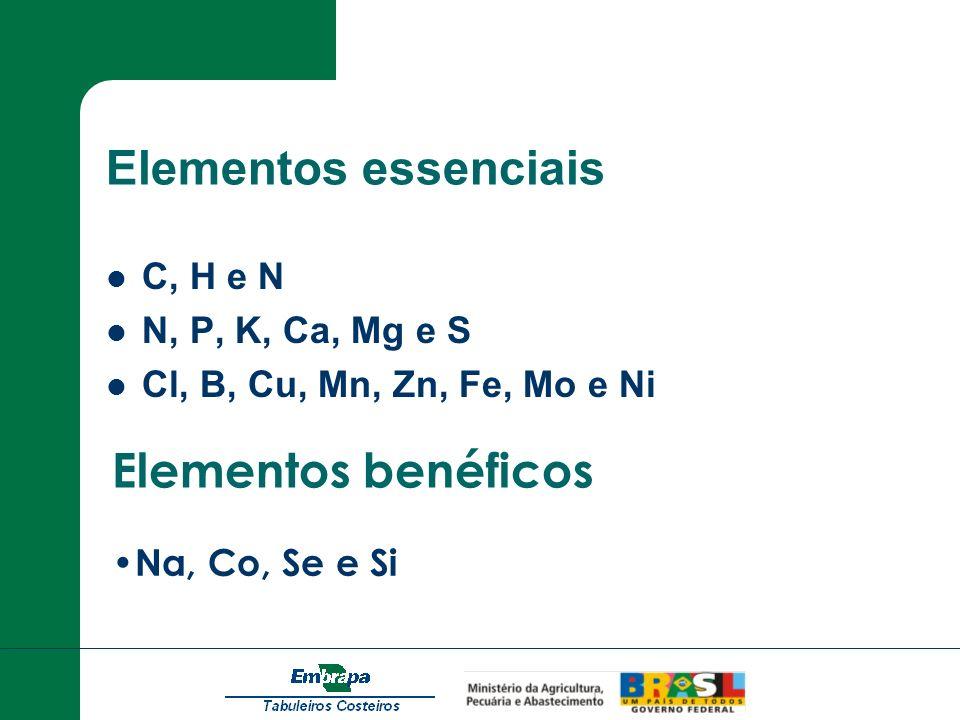 Elementos essenciais Elementos benéficos C, H e N N, P, K, Ca, Mg e S
