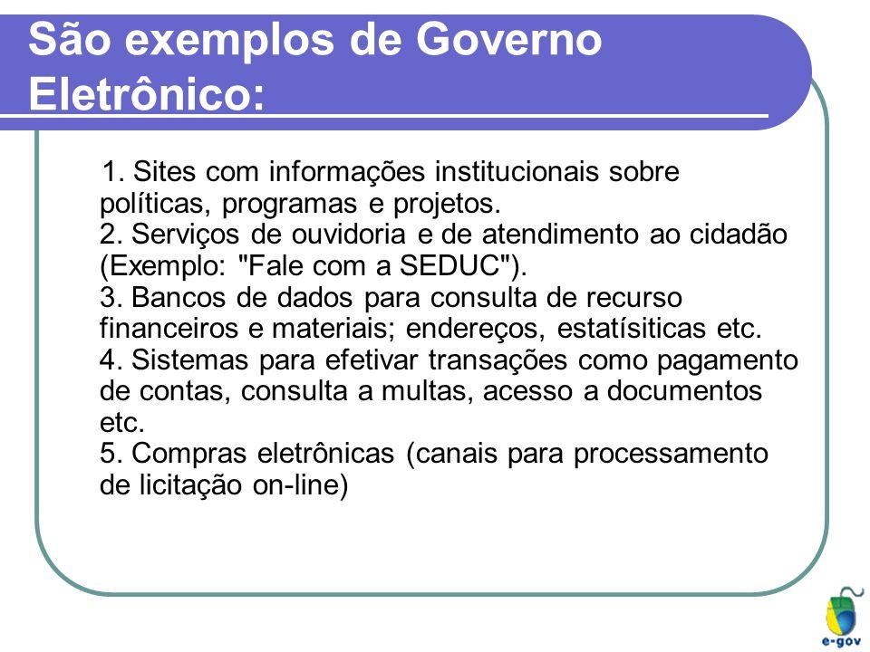 São exemplos de Governo Eletrônico: