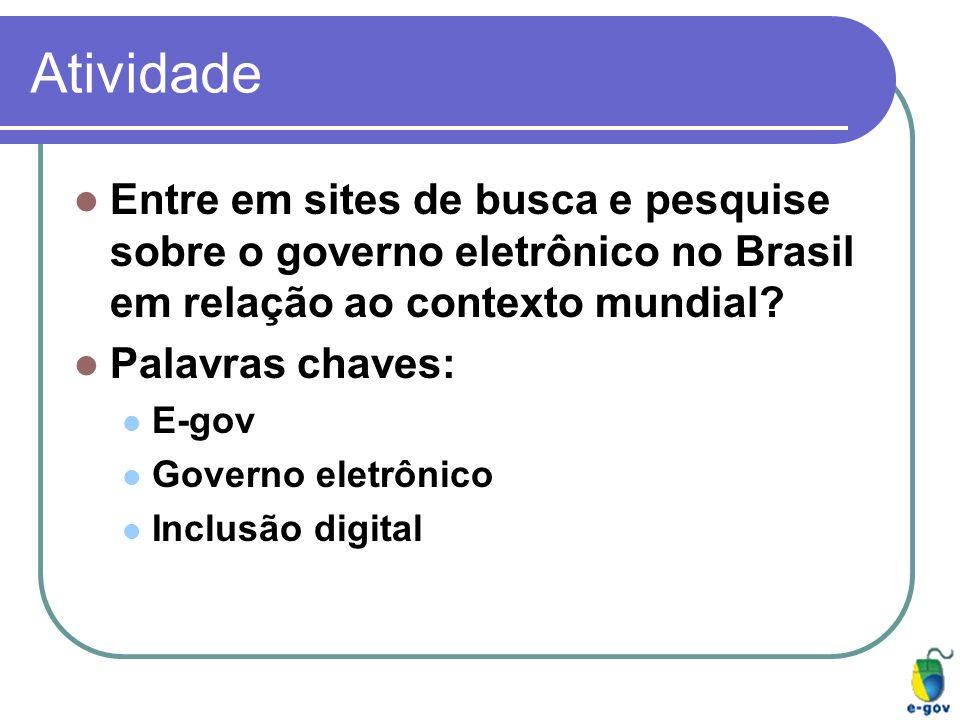 Atividade Entre em sites de busca e pesquise sobre o governo eletrônico no Brasil em relação ao contexto mundial