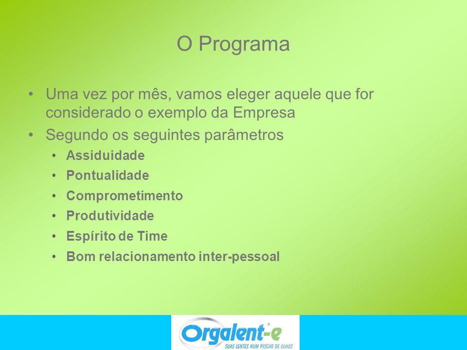 O Programa Uma vez por mês, vamos eleger aquele que for considerado o exemplo da Empresa. Segundo os seguintes parâmetros.
