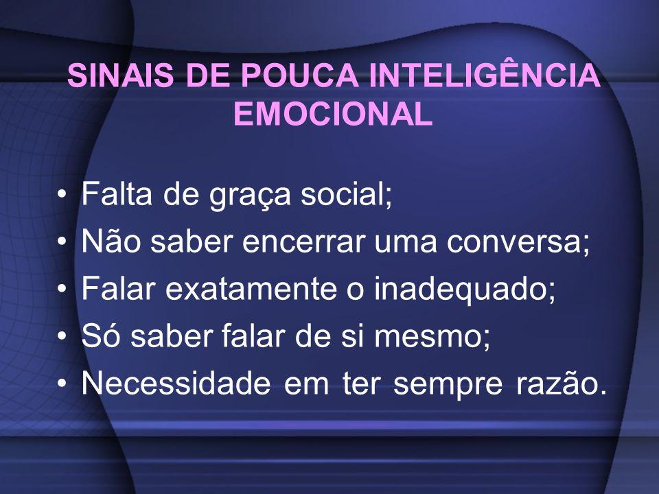 SINAIS DE POUCA INTELIGÊNCIA EMOCIONAL