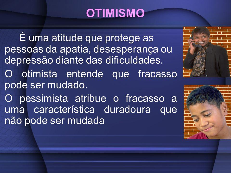 OTIMISMO É uma atitude que protege as pessoas da apatia, desesperança ou depressão diante das dificuldades.
