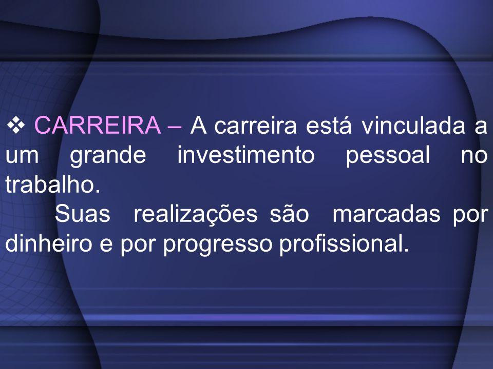 CARREIRA – A carreira está vinculada a um grande investimento pessoal no trabalho.