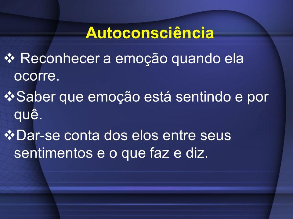 Autoconsciência Reconhecer a emoção quando ela ocorre.