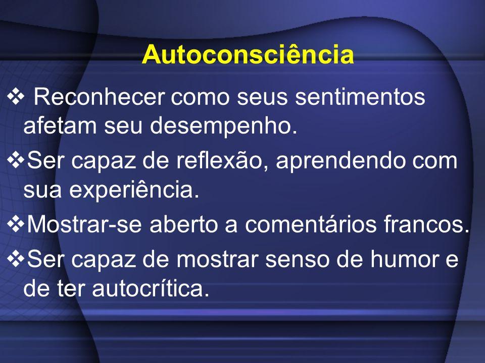 Autoconsciência Reconhecer como seus sentimentos afetam seu desempenho. Ser capaz de reflexão, aprendendo com sua experiência.