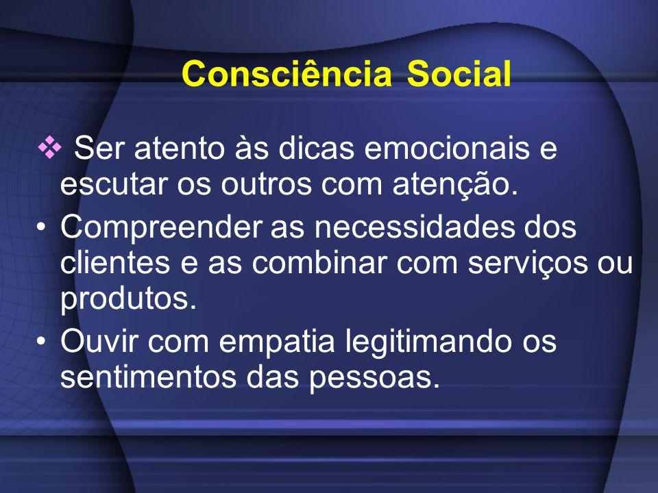 Consciência Social Ser atento às dicas emocionais e escutar os outros com atenção.