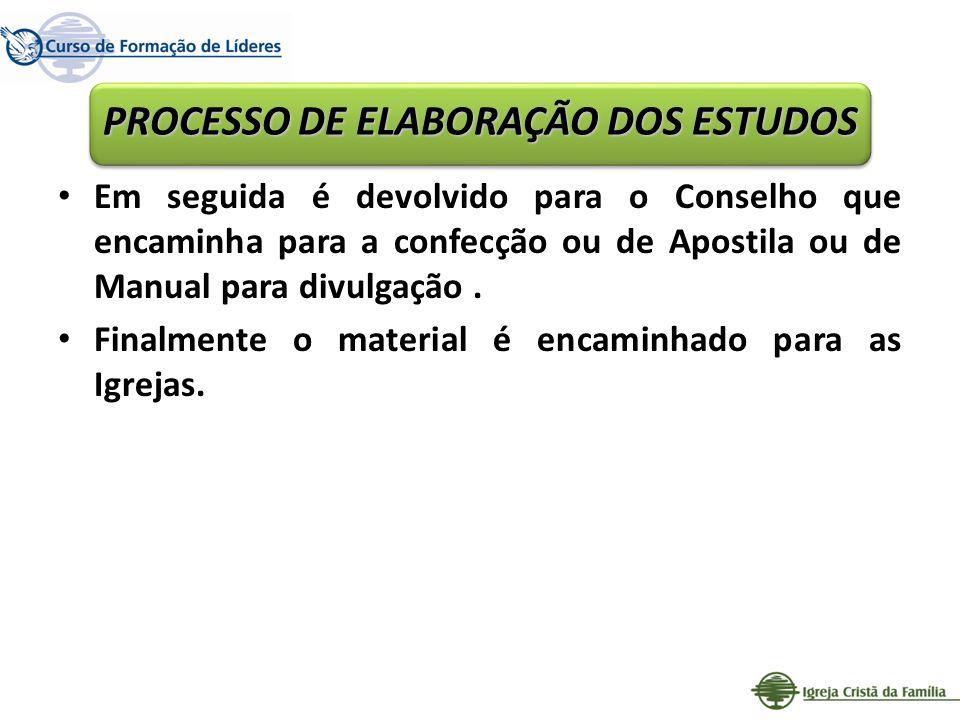 PROCESSO DE ELABORAÇÃO DOS ESTUDOS