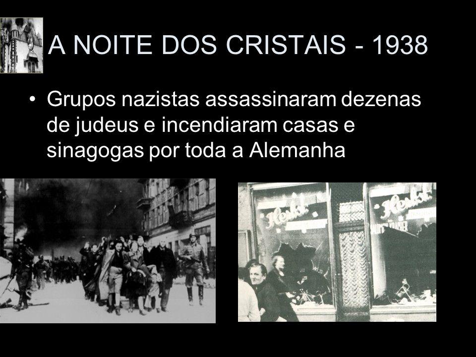 A NOITE DOS CRISTAIS - 1938Grupos nazistas assassinaram dezenas de judeus e incendiaram casas e sinagogas por toda a Alemanha.