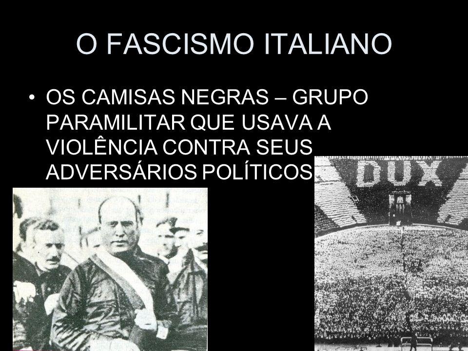 O FASCISMO ITALIANOOS CAMISAS NEGRAS – GRUPO PARAMILITAR QUE USAVA A VIOLÊNCIA CONTRA SEUS ADVERSÁRIOS POLÍTICOS.