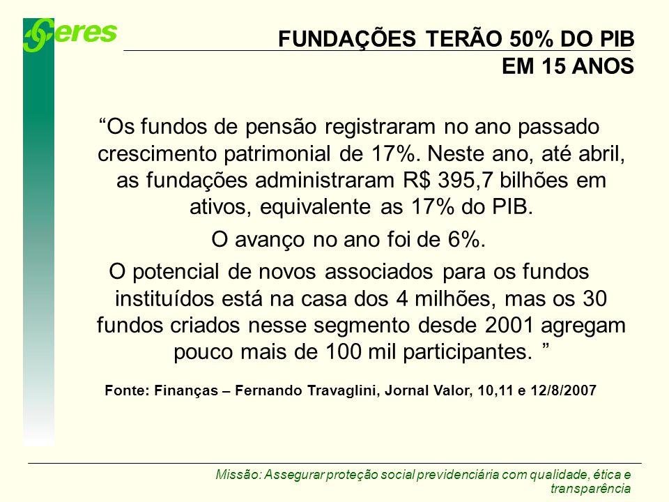 FUNDAÇÕES TERÃO 50% DO PIB EM 15 ANOS