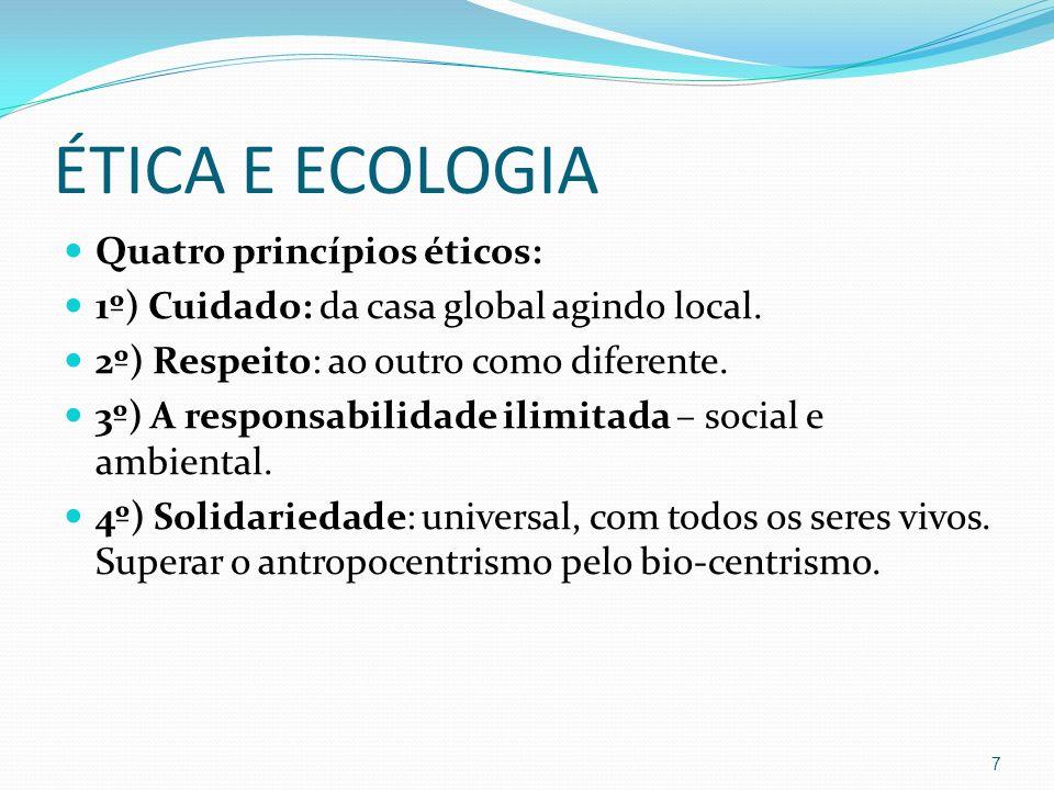 ÉTICA E ECOLOGIA Quatro princípios éticos: