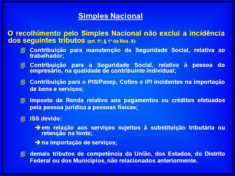 Simples NacionalO recolhimento pelo Simples Nacional não exclui a incidência dos seguintes tributos (art. 5º, § 1º da Res. 4):