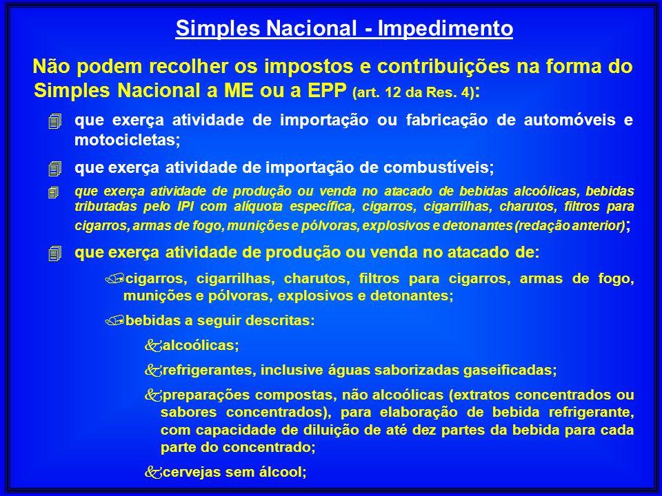 Simples Nacional - Impedimento