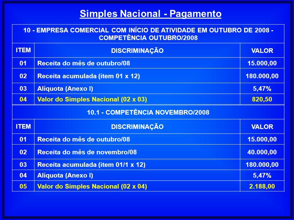 Simples Nacional - Pagamento 10.1 - COMPETÊNCIA NOVEMBRO/2008