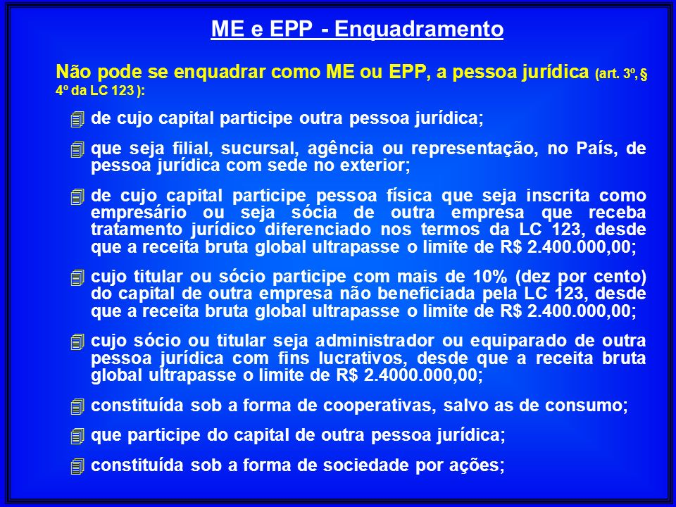 ME e EPP - Enquadramento